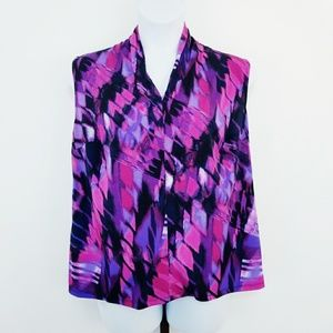 Gloria Vanderbilt Purple Pink Sleeveless Blouse